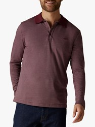 Jaeger Birdseye Long Sleeve Polo Shirt Burgundy