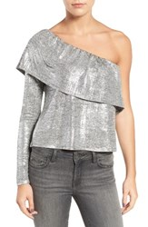 Trouve Women's Metallic One Shoulder Top Grey Heather Silver Foil