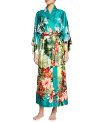 Natori Birds Of Paradise Long Satin Robe Freshwater