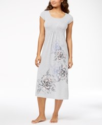 Alfani Floral Print Ruched Waist Knit Nightgown Created For Macy's Pearl Grey Heather