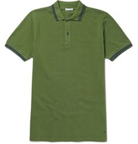 Tomas Maier Slim Fit Contrast Tipped Cotton Pique Polo Shirt Green