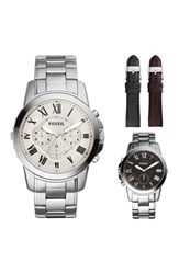 Men's Fossil Boxed 'Grant' Reversible Bracelet And Leather Strap Watch Set