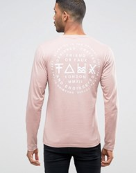 Friend Or Faux Wayback Back Print Long Sleeve Top Pink