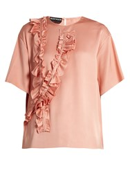 Rochas Ruffle Trimmed Silk Satin Blouse Light Pink