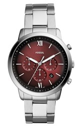 Fossil Neutra Chronograph Bracelet Watch 44Mm Silver Burgundy Silver