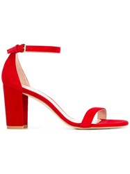 Stuart Weitzman Nearlynude Sandals Women Leather Nubuck Leather 37.5 Red