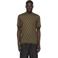 Fendi Black And Brown Forever All Over T Shirt