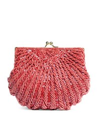 La Regale Beaded Crossbody Shell Clutch Pink