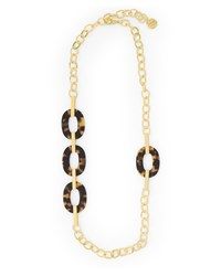 Jaeger Jennifer Tortoiseshell Oval Station Necklace Brown