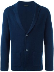 Z Zegna Fit Knit Blazer Blue