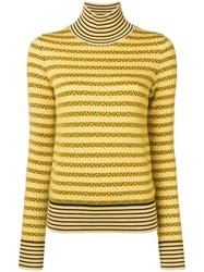 Carven Striped Roll Neck Sweater Yellow And Orange