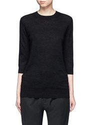 Vince Elbow Sleeve Cashmere Linen Sweater Black