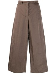 Fabiana Filippi Cropped Wide Leg Trousers Brown