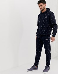Nicce London Skinny Joggers With All Over Print In Navy