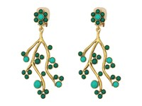 Oscar De La Renta Cabochon And Crystal Vine C Earrings Emerald Earring Green