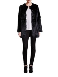 Adrienne Landau Rabbit Fur Coat Black