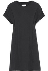 Current Elliott Pintucked Distressed Cotton Jersey Mini Dress Black
