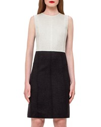 Akris Reversible Double Face Wool Sheath Dress Black White