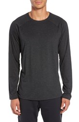 Alo Yoga Triumph Raglan Long Sleeve T Shirt Charcoal Black Triblend