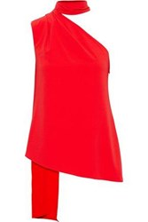 Halston Woman Pleated Draped Crepe Top Tomato Red