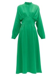 Emilia Wickstead Autumn Pleated High Neck Crepe Midi Dress Green