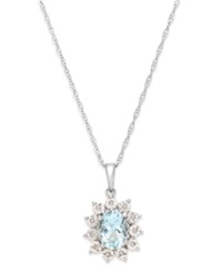 Macy's Aquamarine 1 Ct. T.W. And Diamond Accent Pendant Necklace In 14K White Gold