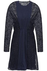 Maje Woman Guipure Lace Paneled Crepe Mini Dress Midnight Blue