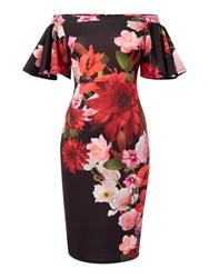 Jessica Wright Bardot Frill Sleeveless Floral Bodycon Dress Black