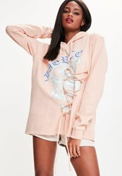 Missguided Pink Fierce Dragon Lace Up Detail Oversized Hoodie Blush