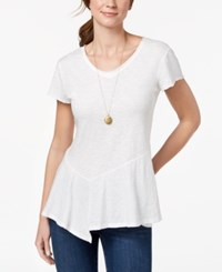 Styleandco. Style Co Cotton Peplum Hem T Shirt Created For Macy's Bright White