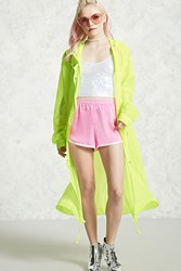 Forever 21 Sheer Longline Windbreaker Neon Yellow