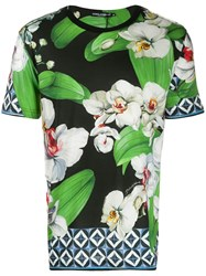 Dolce And Gabbana Floral Print T Shirt Black