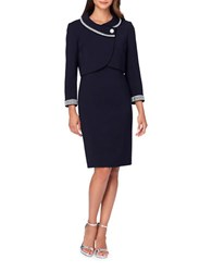 Tahari By Arthur S. Levine Rhinestone Button Embellished Jacket And Sheath Dress Set Navy