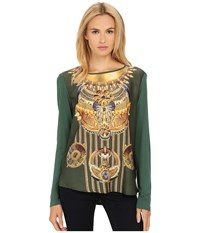 Versace Long Sleeve Printed Boat Neck Shirt Giungla Women's T Shirt Beige