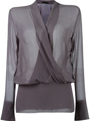 Giuliana Romanno Fitted Waist Longsleeved Blouse Grey