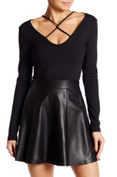 David Lerner Nolita V Neck Lace Up Crop Shirt Black