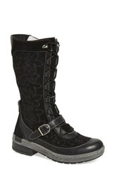 Jambu Women's 'Hawthorn' Embroidered Mid Calf Water Resistant Boot Black Leather