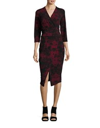 Rachel Roy Three Quarter Sleeved Damask Print Dress Pinot Noir