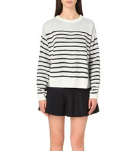 Izzue Striped Front Jumper White
