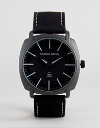 Racing Green Black Strap Watch With Round Black Dial Black