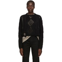 Amiri Black Cropped Multipoint Crew Sweater