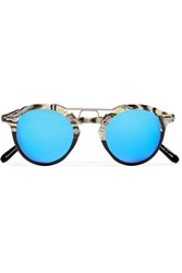 Krewe St. Louis Round Frame Acetate And Silver Tone Mirrored Sunglasses Black