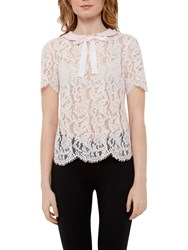 Ted Baker Scallop Edge Lace Top Baby Pink
