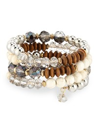 Emily And Ashley Greenbeads By Emily And Ashley Beaded Crystal Wire Wrap Bracelet Natural