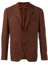 Tagliatore Houndstooth Blazer Men Cotton Linen Flax Viscose 46 Yellow Orange
