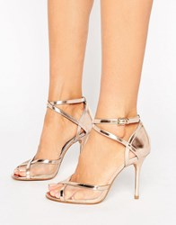 Head Over Heels By Dune Meryl Rose Gold Heeled Sandals Rose Gold