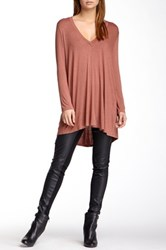 Riller And Fount Long Sleeve V Neck Tunic Pink