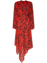 Solace London Nelli Snake Print Asymmetric Dress Red