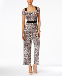 Thalia Sodi Off The Shoulder Printed Jumpsuit Only At Macy's Taupe Combo