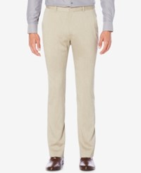 Perry Ellis Men's Classic Fit Chambray Pants Natural Linen